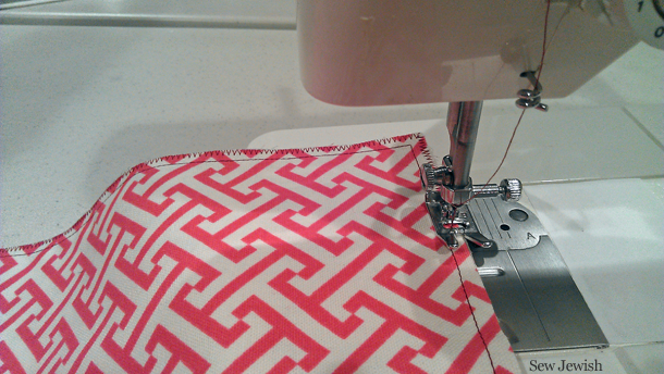 finish edges with zigzag stitches