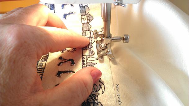 Sew atarah to tallit