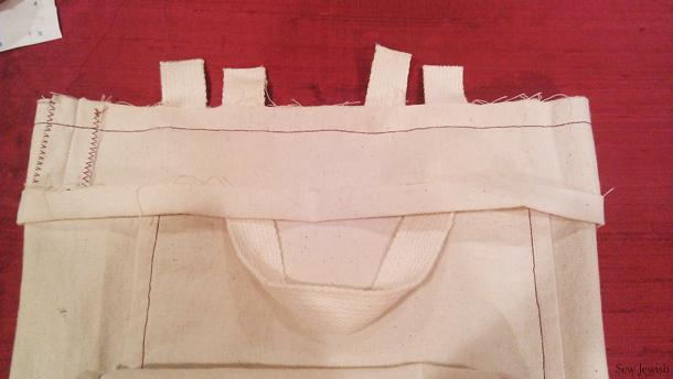 sew facing to shopping bag