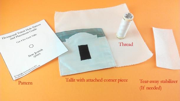 pattern tallit with corner thread