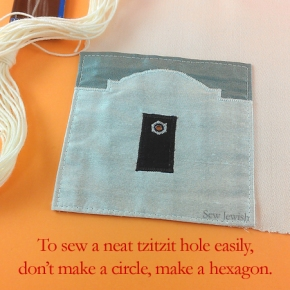 To Easily Sew a Neat Tzitzit Hole on Your Tallit, Don't Make a Circle, Make a Hexagon [Free Printable Pattern]