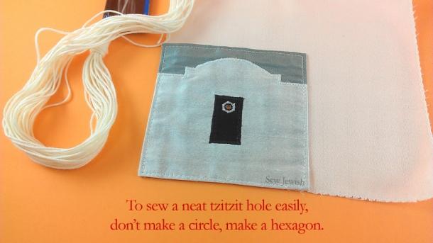sew hexagon tallis hole