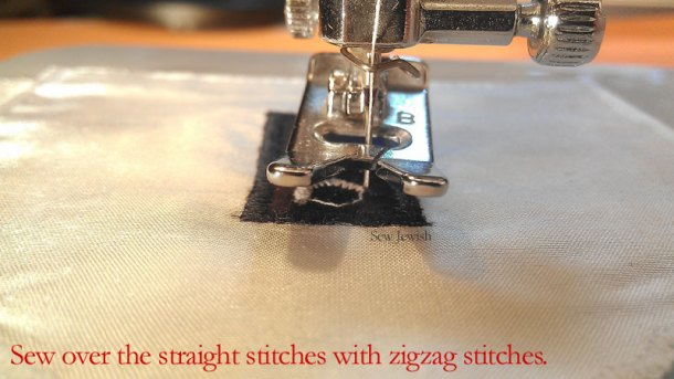 reinforce tzitzit holes sew zigzag stitches