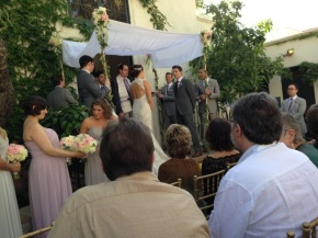 Groom's Mom Makes Wedding Chuppah from Heirloom Tablecloth