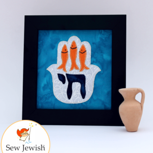 Hamsa with fish pattern from Sew Jewish book