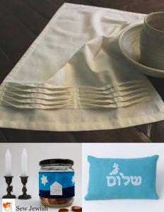 Al natilat towel, tzedakah jar wrap, shalom pillow