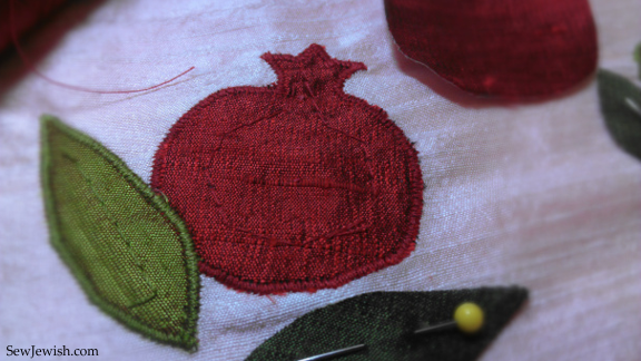 Pomegranate applique detail