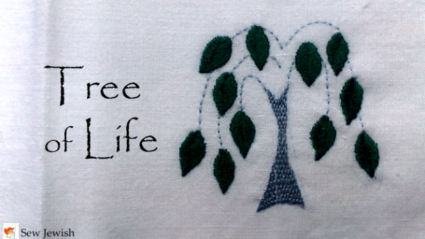 Embroidered tree of life pattern