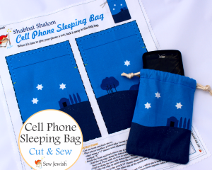 Shabbat cell phone sleeping bag cut and sew fabric from Sew Jewish