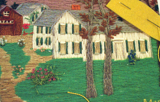Grandma Moses embroidery detail Mt. Nebo on a Hill