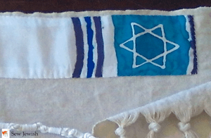 tallit atarah with silk paint stripes and Star of David