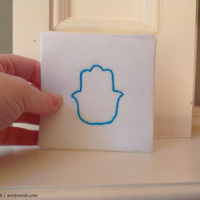 How to embroider the stem stitch & a little hamsa to practice on