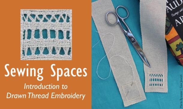 Drawn thread embroidery bookmark
