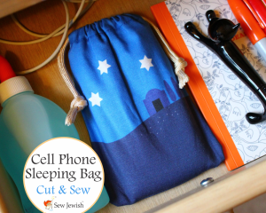 finished cell phone sleeping bag tucked in drawer