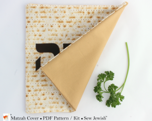 Passover matzah cover sewing pattern back view