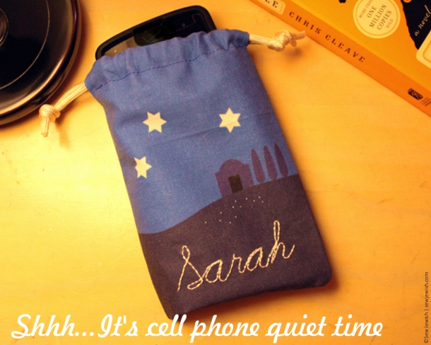Cell phone sleeping bag embroidered with name Sarah