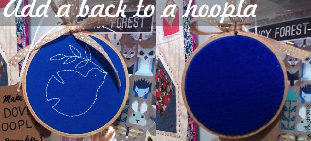 embroidered hoopla with finished fabric back