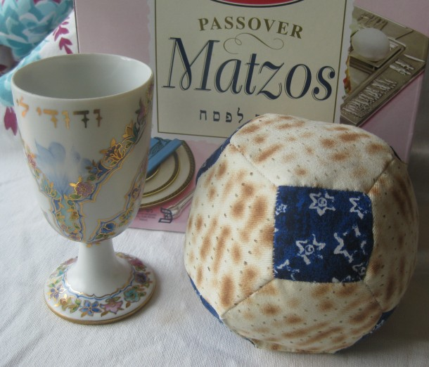 Fabric matzah ball from Stitch-a-hedron!
