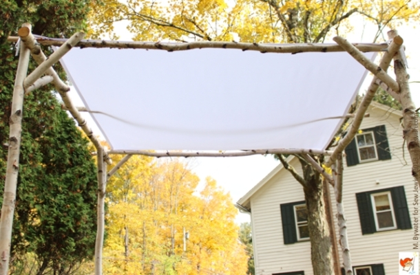 wedding chuppah white canopy birch frame