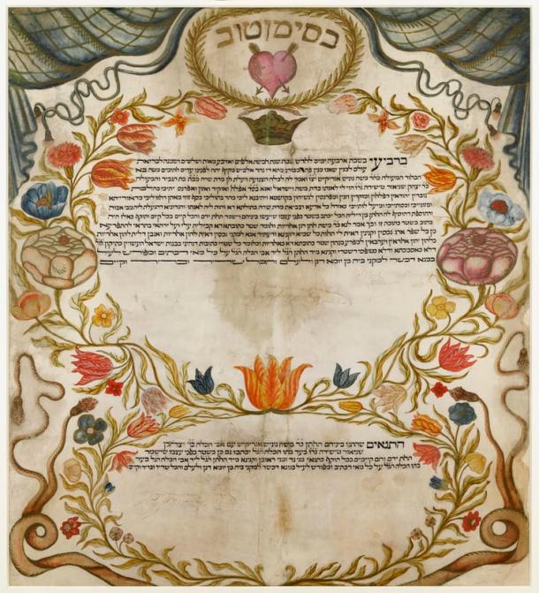 ketubah with valentine and roses