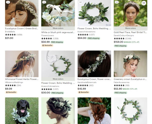 Etsy screenshot bridal garlands