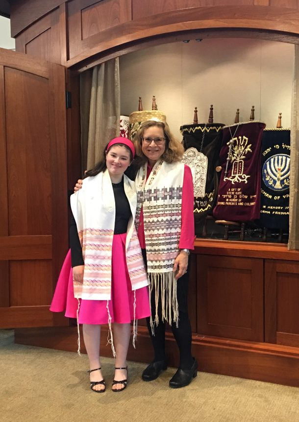 Bat mitzvah girl in custom tallit with Swedish weaving by Deborah Katchko Gray