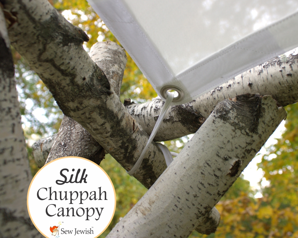 Silk chuppah canopy corner grommet and tie