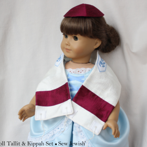 Samantha Models the Mini Tallit and Kippah