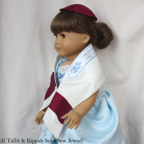 Samantha Models the Mini Tallit andKippah