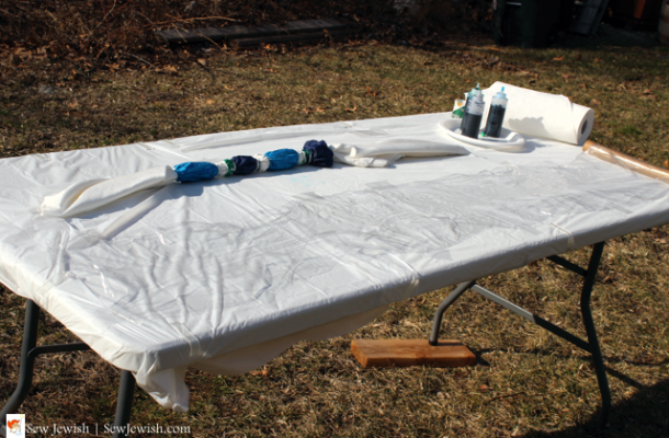 Tie-dyed canopy with applied dyes