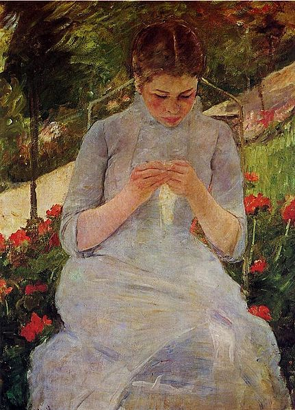 Mary Cassatt Young Woman Sewing in a Garden