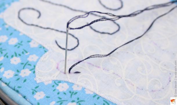 running stitch insert needle one stitch length away